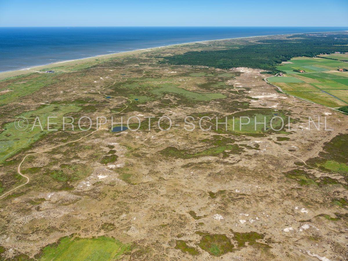 luchtfoto |  Texel, De Bollekamer, Oude Mientgronden, Nationaal Park Duinen van Texel. De Oude Mientgronden zijn natte stukken duinheide die vroeger gemeenschappelijk werden gebruikt. opn. 01/07/2018